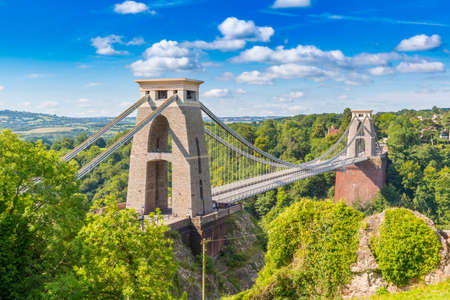 Clifton Suspension Bridge, Bristol, Avon blue sky