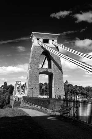 Black and White Closeup of Detail of Clifton Suspension Bridge, Bristol, Avon, England, UK.
