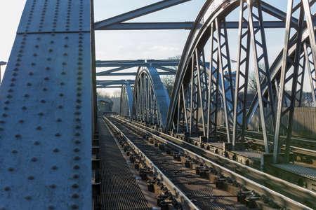 Detail of Barnes Railway Bridge. over the River Thames, London, UK
