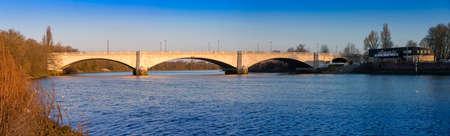 Panorama of Chiswick Bridge, over the River Thames, London, UK