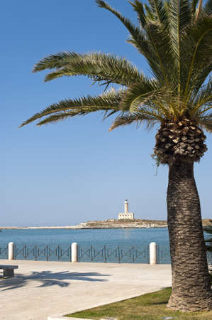 foggia: Vieste (Foggia, Gargano, Puglia, Italy) lighthouse from park Stock Photo