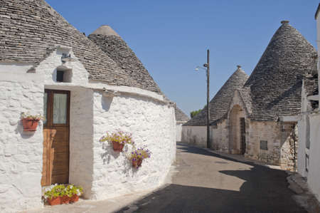 Alberobello (Bari, Puglia, Italy): Street in the trulli town Stock Photo