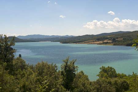 Landscape with lake near Arezzo (Tuscany, Italy) at summer