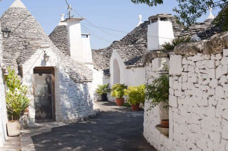 Alberobello (Bari, Puglia, Italy): Street in the trulli town Editorial