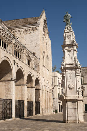 11th century: Bitonto (Bari, Puglia, Italy) - Old cathedral in Romanesque style, with (on the right) the Spire of the Immacolata (1733, baroque)