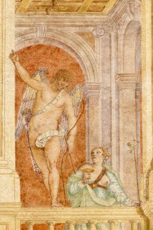 italian fresco: Riviera del Brenta (Veneto, Italy) - Villa Soranzo (16th century) with frescos by Benedetto Caliari (1538-1598) Editorial