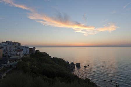 Sunset over the sea at Rodi Garganico (Foggia, Puglia, Italy)