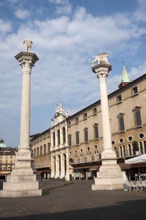 Vicenza (Veneto, Italy): The historic main square with two columns