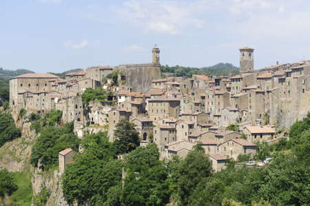 Sorano (Grosseto, Tuscany, Italy), panoramic view of the medieval town photo