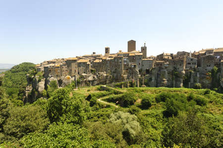 vitorchiano: Vitorchiano (Viterbo, Lazio, Italy), old typical town: panoramic view
