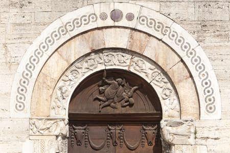 bevagna: Historic church in Bevagna (Perugia, Umbria, Italy), door Stock Photo
