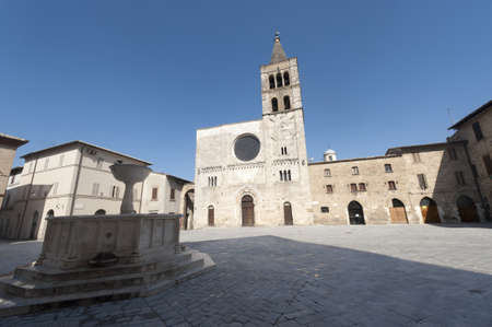 bevagna: Historic Silvestri square in Bevagna (Perugia, Umbria, Italy), with church and fountain Editorial