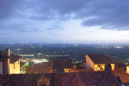 Panoramic view from Cortona (Arezzo, Tuscany, Italy), by night photo