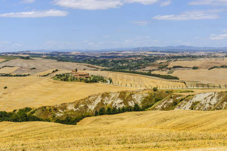 val dorcia: Typical landscape in Val dOrcia (Siena, Tuscany, Italy) at summer. Old farm