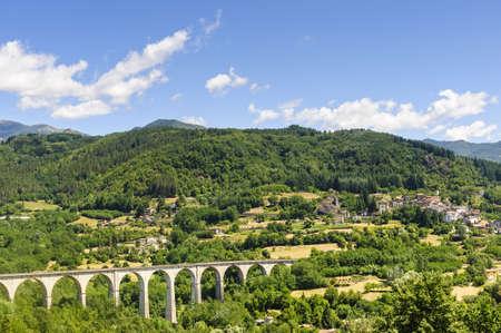 Landscape in Garfagnana (Lucca, Tuscany, Italy) at summer Stock Photo