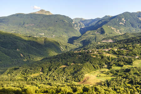 Landscape from the Passo di Pradarena, on the Appennino Tosco-Emiliano (Emilia-Romagna, Italy), at summer Stock Photo - 13153156