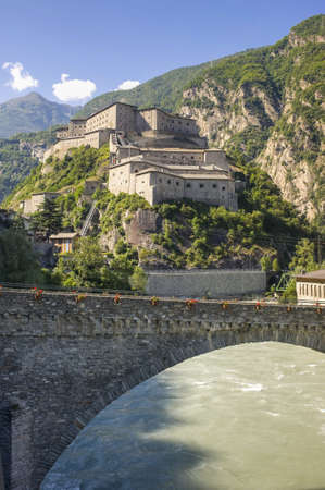 bard: Bard  Aosta, Italy  - The ancient fortress and bridge over the Dora river