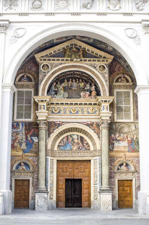 aosta: Aosta  Italy  - Facade of the cathedral, with frescos Stock Photo