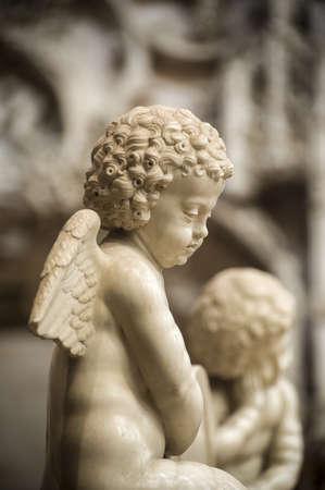 putto: Bourg-en-Bresse (Ain, Rhone,-Alpes, France) - Ancient church of Brou: statue