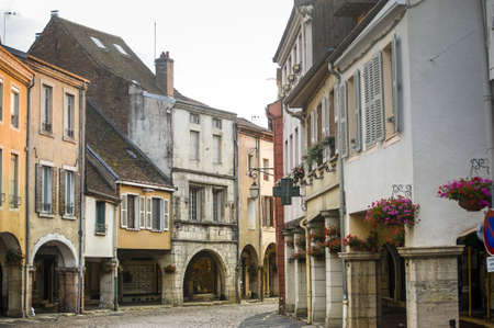 Louhans  Saone-et-Loire, Burgundy, France  - The main street with portico