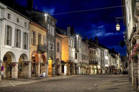 et: Louhans  Saone-et-Loire, Burgundy, France  - The main street with portico at night
