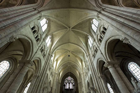 Sens (Yonne, Burgundy, France) - Interior of the Saint-Etienne cathedral, in gothic style