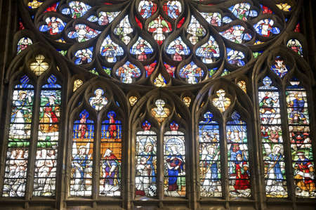 Sens (Yonne, Burgundy, France) - Interior of the Saint-Etienne cathedral, in gothic style, stained glass