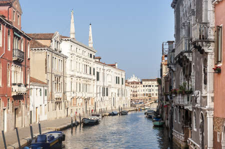 Venice (Venezia, Veneto, Italy), old typical buildings on a canal and boats Stock Photo - 15225378