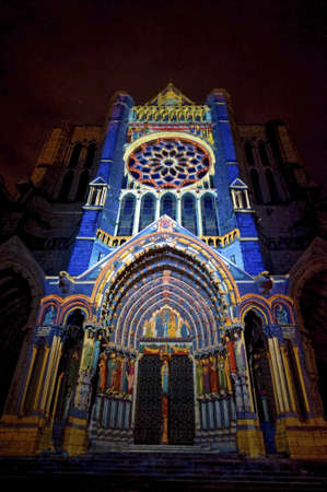 chartres: Chartres (Eure-et-Loir, Centre, France) - Exterior of the gothic cathedral illuminated at night