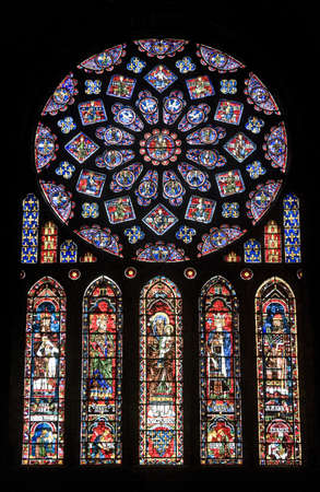 chartres: Chartres (Eure-et-Loir, Centre, France) - Interior of the cathedral in gothic style: stained glass window (circa 13th century)