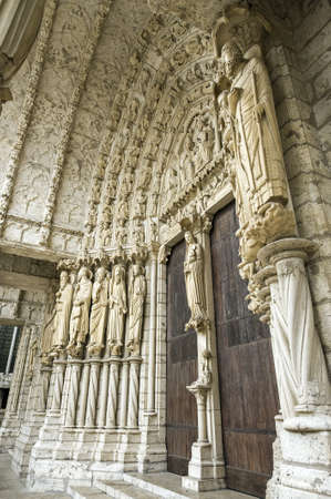 chartres: Chartres (Eure-et-Loir, Centre, France) - Exterior of the gothic cathedral: portal Stock Photo