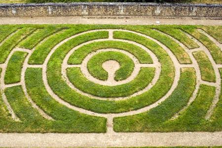 Chartres (Eure-et-Loir, Centre, France) - Circular labyrinth in a garden