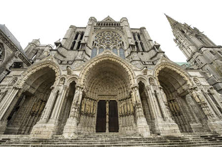 chartres: Chartres (Eure-et-Loir, Centre, France) - Exterior of the gothic cathedral: facade