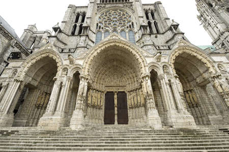Chartres (Eure-et-Loir, Centre, France) - Exterior of the gothic cathedral: facade