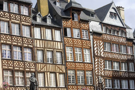 Rennes (Ille-et-Vilaine, Brittany, France) - Exterior of ancient half-timbered buildings photo