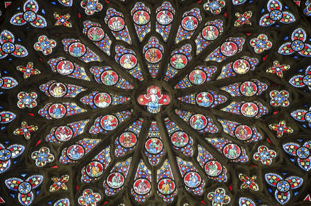 Sees (Orne, Basse Normandie, France) - Interior of the cathedral in gothic style: stained glass (rose window)