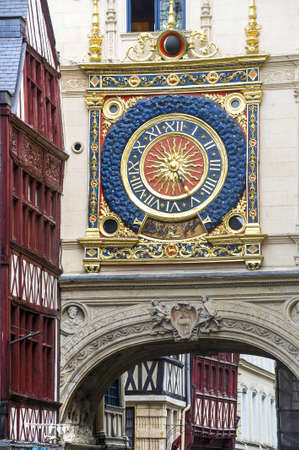 Rouen (Seine-Maritime, Haute-Normandie, France) - Exterior of the ancient clock tower, detail photo