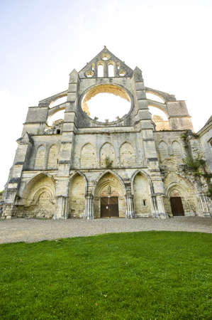 Abbey of Longpont (Aisne, Picardie, France)  - Ruins of the abbey church, facade photo