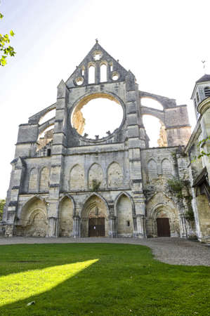 abbey ruins abbey: Abbey of Longpont (Aisne, Picardie, France)  - Ruins of the abbey church, facade Stock Photo