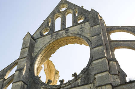 Abbey of Longpont (Aisne, Picardie, France)  - Ruins of the abbey church, facade, detail photo