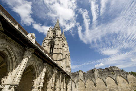 Abbey of St-Jean-des-Vignes in Soissons (Aisne, Picardie, France) , cloister and dramatic sky photo