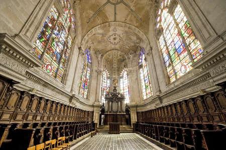 meuse: Saint-Mihiel (Meuse, Lorraine, France) - Interior of the ancient Saint-Michel church, organ and choir Editorial