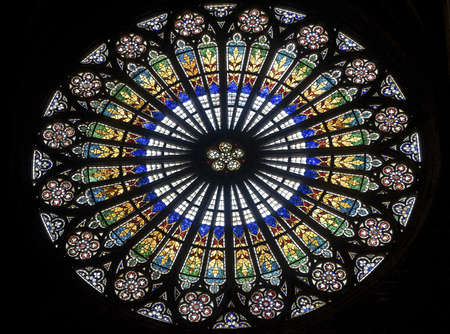 strasbourg: Strasbourg (Bas-Rhin, Alsace, France) - Interior of the ancient cathedral, in gothic style, rose window
