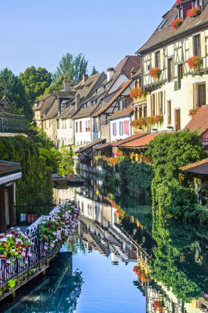 Colmar (Haut-Rhin, Alsace, France) - Exterior of old houses on a canal in the Petite Venise