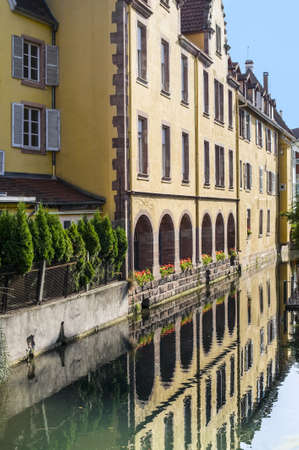 Colmar (Haut-Rhin, Alsace, France) - Exterior of old palace on a canal at Petite Venise photo