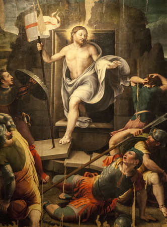 Sansepolcro (Arezzo, Tuscany, Italy) - Resurrection of Christ, painting in the Cathedral made by Raffaellino del Colle, a Raffaello Sanzios pupil, in the 16th century (Renaissance era), in manneristic style. Public domain artwork.