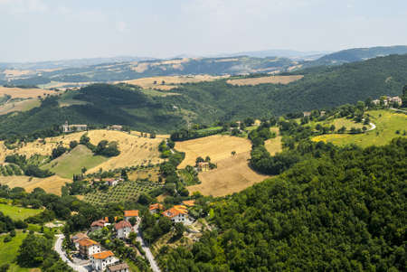 Panoramic view from Arcevia  Pesaro Urbino, Marches, Italy  at summer photo