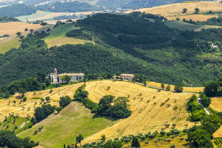 Panoramic view from Arcevia (Pesaro Urbino, Marches, Italy) at summer photo