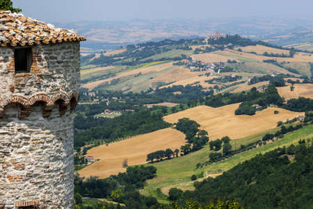 Panoramic view from Arcevia (Pesaro Urbino, Marches, Italy) at summer