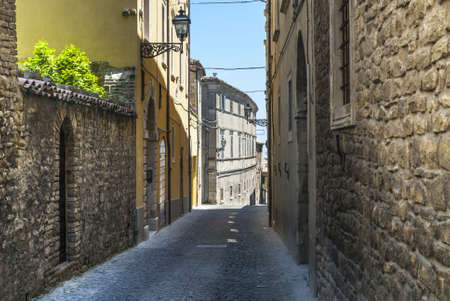 Cingoli (Macerata, Marches, Italy) - Street of the ancient town Stock Photo